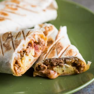Killer Grilled Breakfast Burritos with Sausage Egg or Bacon | @bestrecipebox