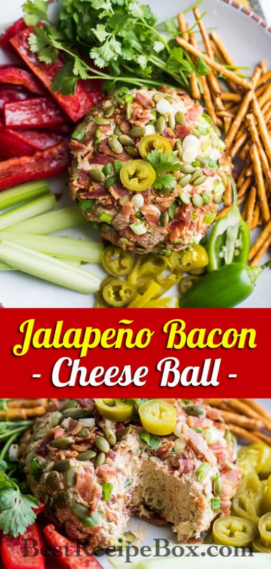Jalapeno Bacon Cheese Ball Appetizer for Game Day | @bestrecipebox